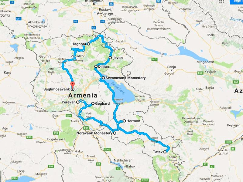 map-Walking Tour in Armenia