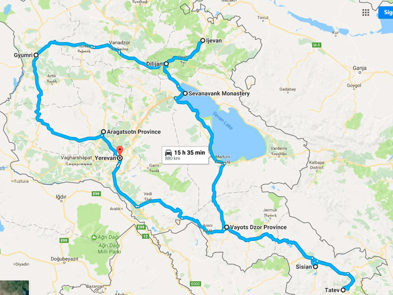 map-Jeep Tour in Armenia