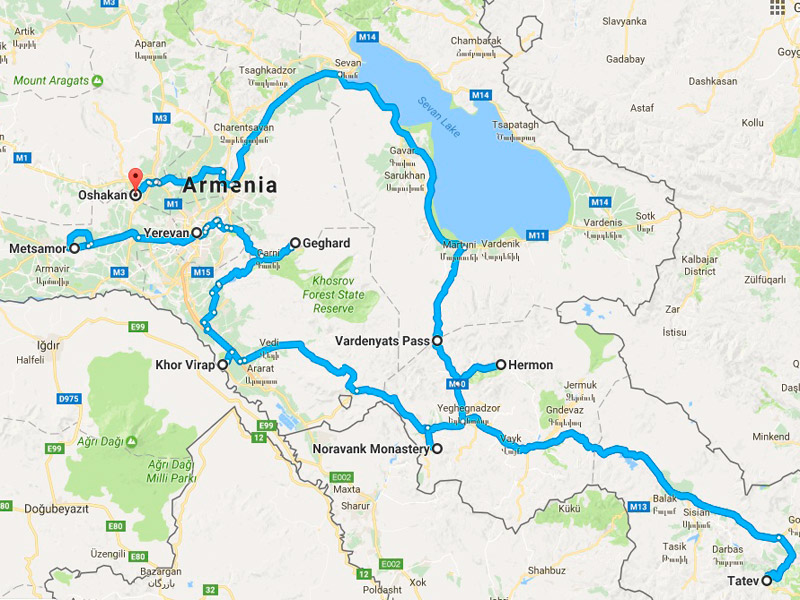map-Archaeological Tour to Armenia