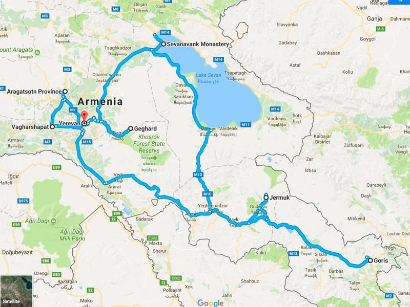 map-Mountain Bike Tour in Armenien