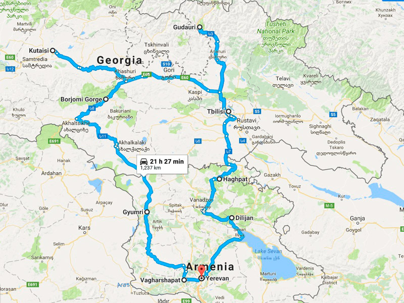 map-Moto Tour to Armenia and Georgia