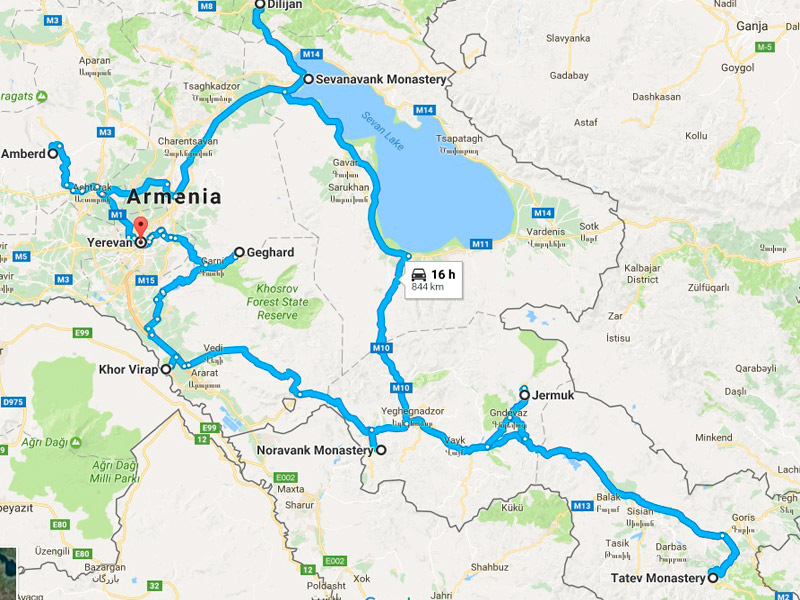 map-Halal Tour to Armenia – 7 days