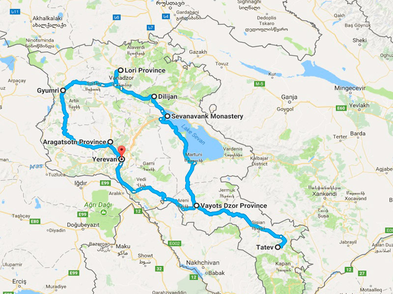 map-Armenia & Georgia Jeep Tour