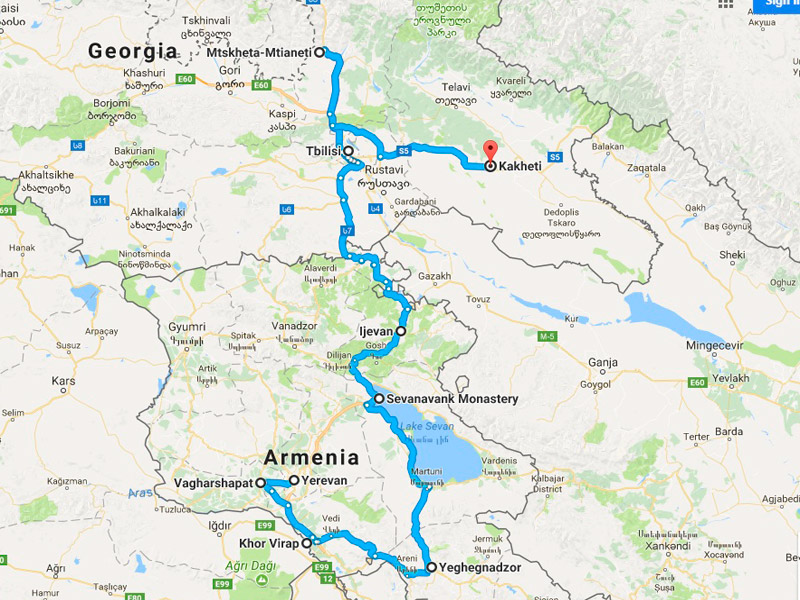 map-Gastronomic – Gourmet Tour to Armenia and Georgia