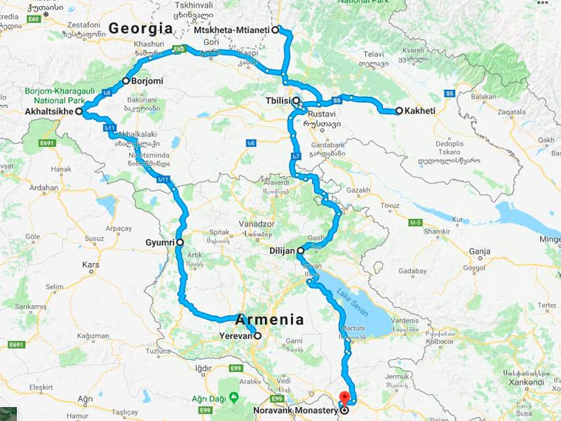 map-Tour à vélo en Arménie et Géorgie