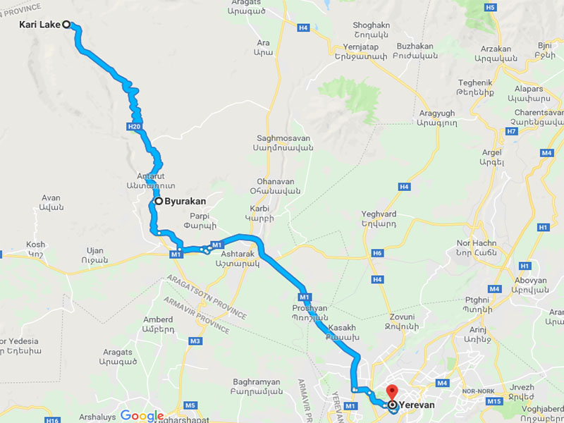 map-Trekking to Aragats Two Peaks