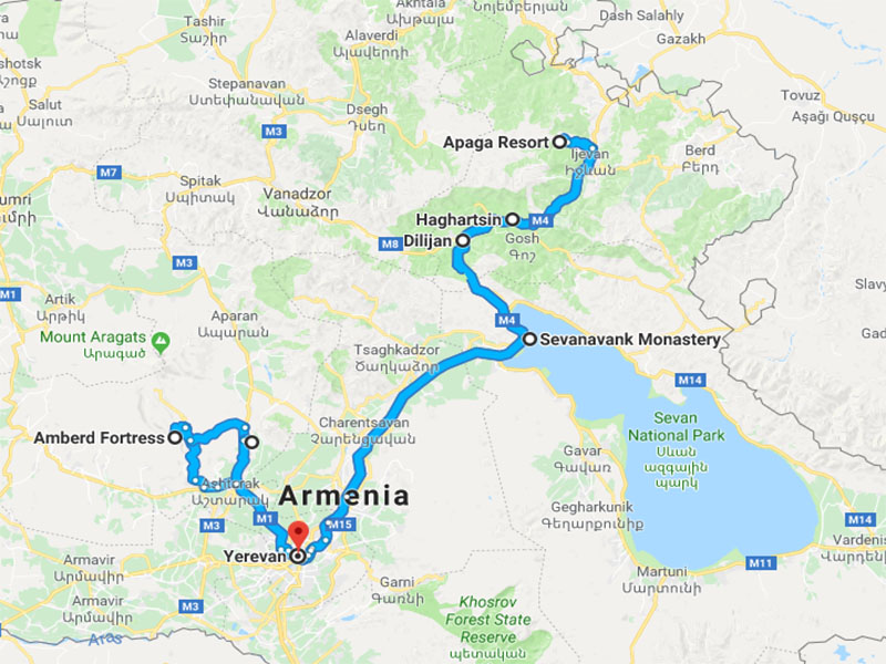 map-Horse Riding Tour in Armenia