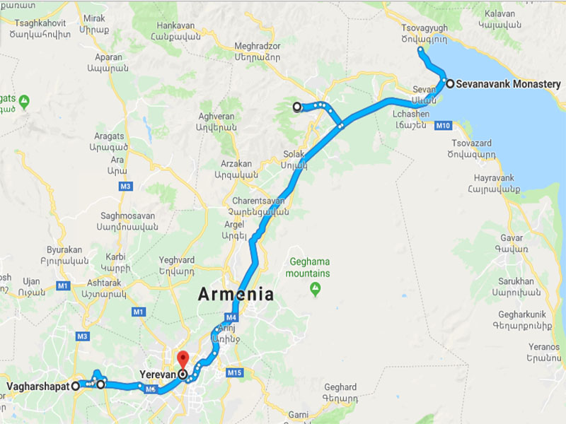 map-New Year Group Tour to Armenia – 5 days
