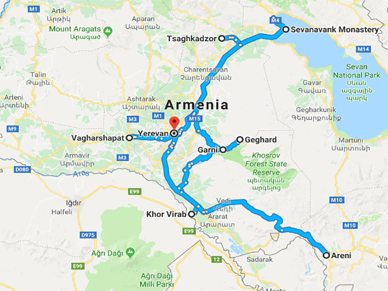 map-New Year Group Tour to Armenia – 7 days