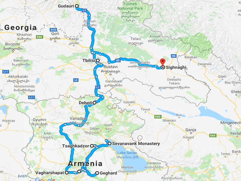 map-New Year Tour to Armenia and Georgia