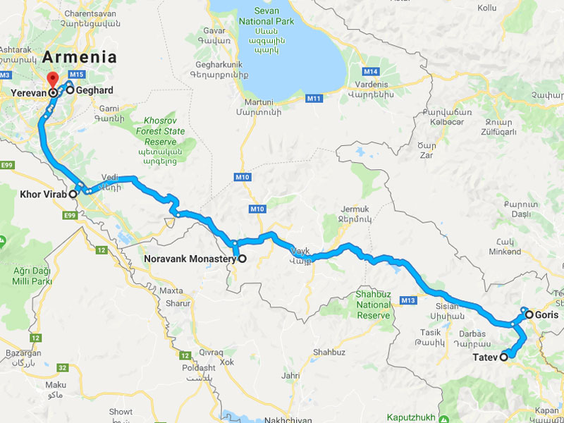map-November Group Tour in Armenia - 5 days