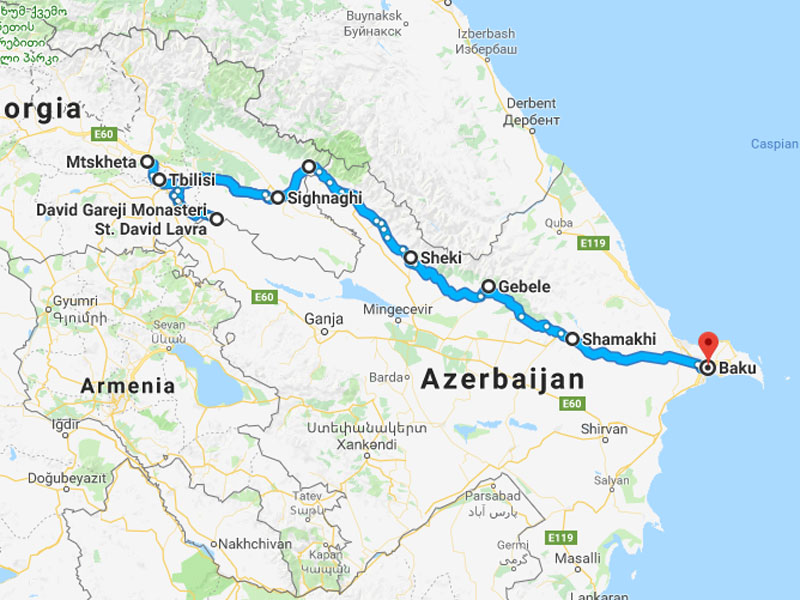 map-Armenia, Georgia & Azerbaijan Short Break Tour