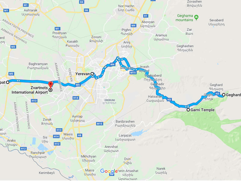 map-Corporate Tour Package to Armenia