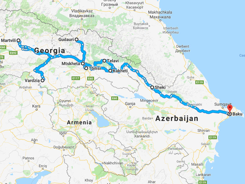 map-Exquisite Caucasus - Armenia, Georgia, Azerbaijan