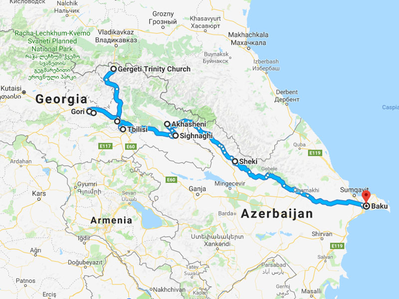 map-Armenia, Georgia and Azerbaijan Tour in 17 days