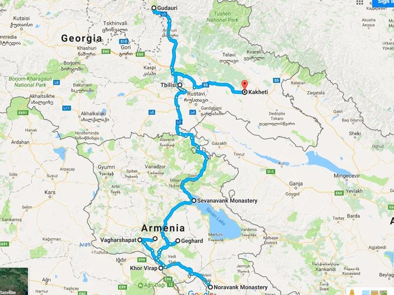 map-Circuit Arménie et Géorgie