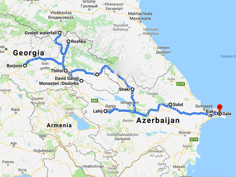 map-Armenia Georgia & Azerbaijan Hiking Tour