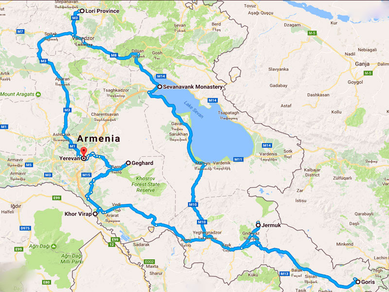 map-Uncover Armenia Travel Package