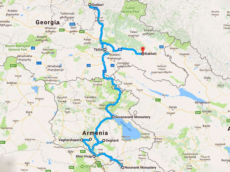 map-Armenia & Georgia Classical Tour Package
