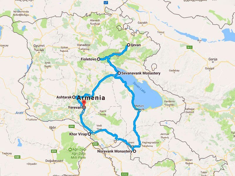 map-Rural Tour to Armenia