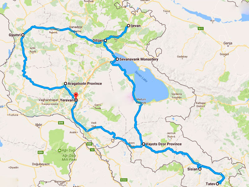 map-Jeep Tour in Armenien