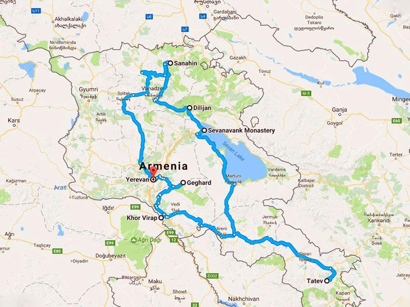 map-Религиозный тур по Армении
