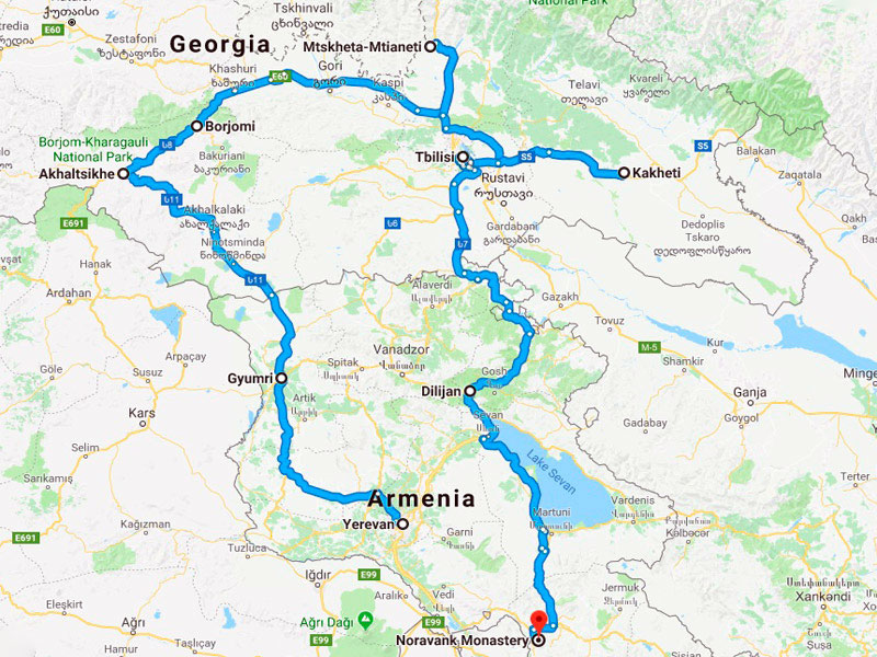 map-Cycling Tour to Armenia and Georgia