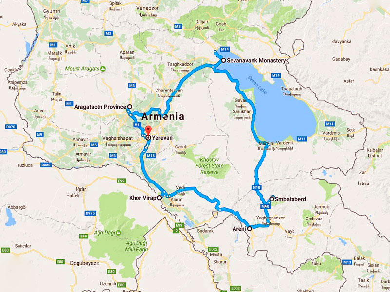 map-Adrenaline Multi-Activity Tour in Armenia