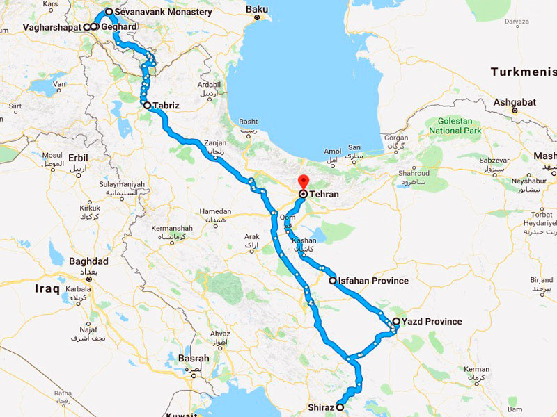 map-Armenia & Iran Historical Tour