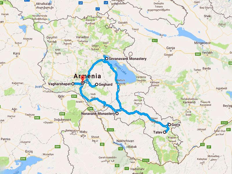 map-Осенний тур в Армению — 6 дней