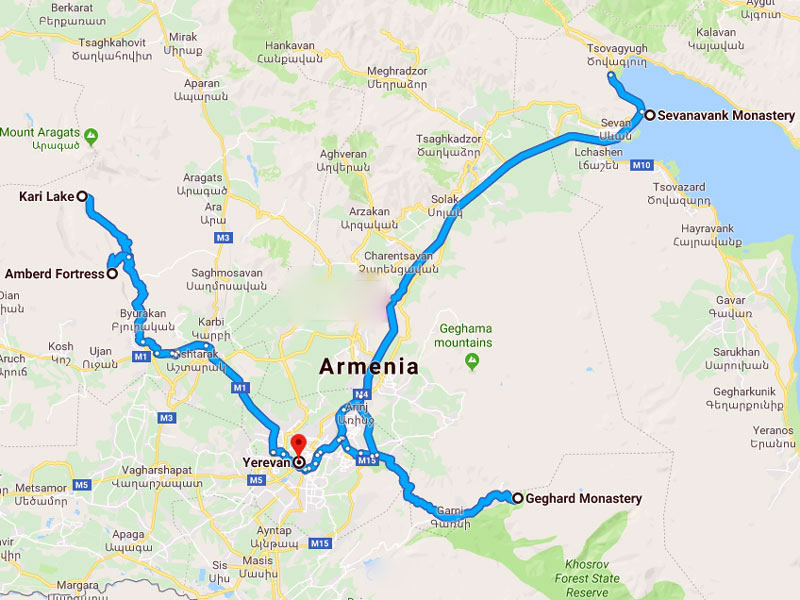 map-Gastronomic Weekend Tour to Armenia