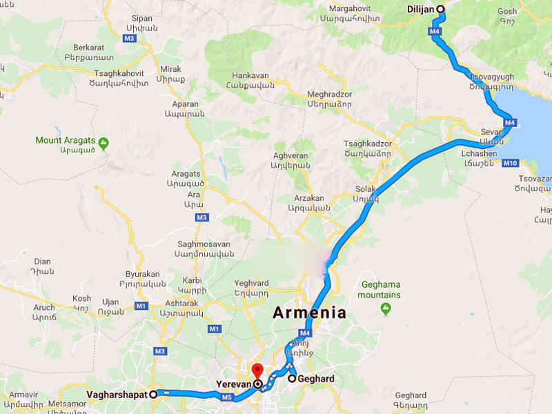 map-March Group Tour in Armenia - 6 days