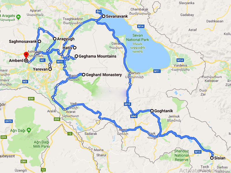 map-Ski Tour to Armenia – 10 days