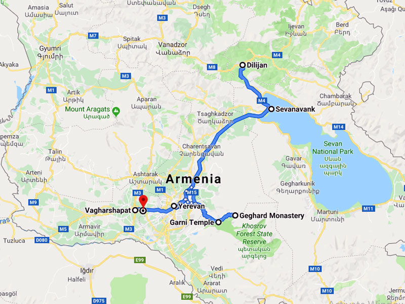 map-Group Tour to Armenia – 5 days