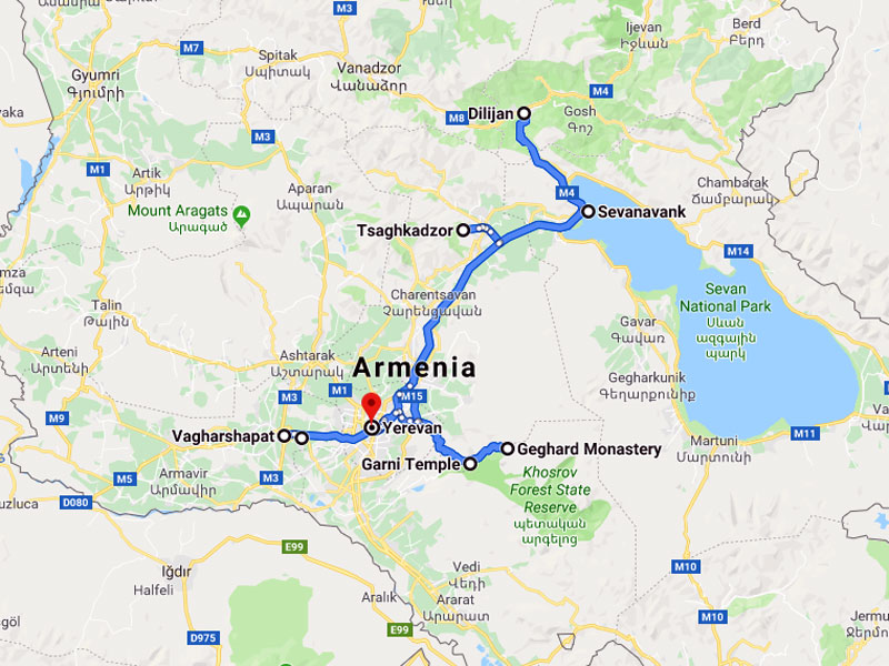 map-Group Tour to Armenia – 6 days