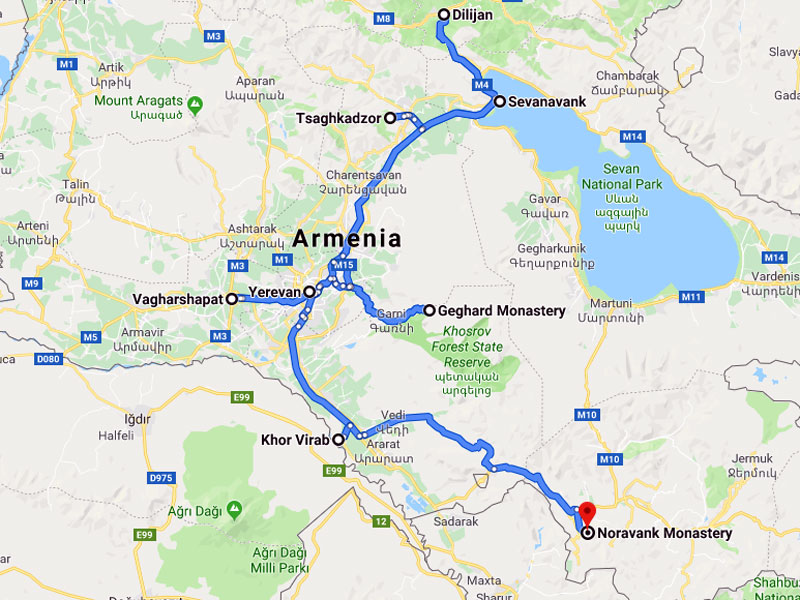 map-Group Tour to Armenia – 8 days