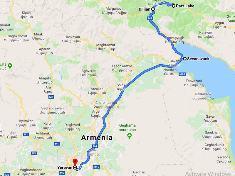 map-Weekend Bike Tour to Armenia