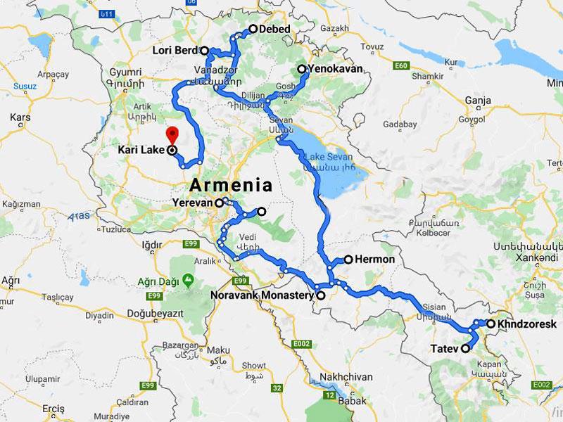 map-Wanderung durch Armenien