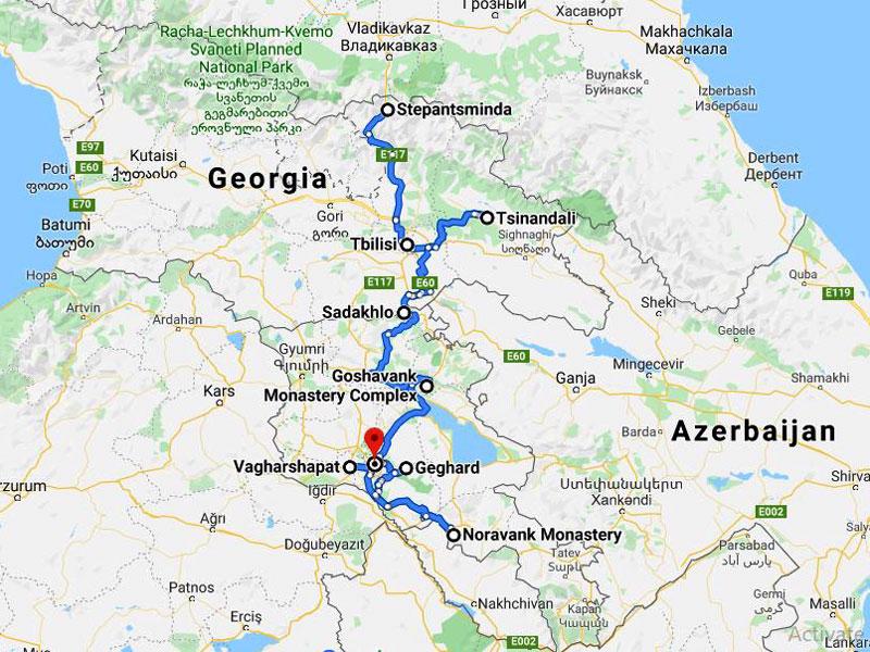 map-Klassische Tour nach Georgien und Armenien