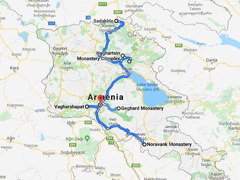 map-Classical Tour to Azerbaijan, Georgia and Armenia