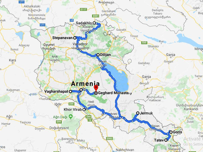 map-Azerbaijan, Georgia and Armenia in 17 days