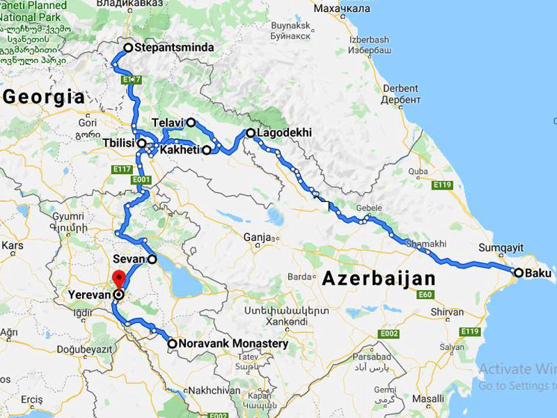 map-Silk Road Tour to 5 Stans and the Caucasus