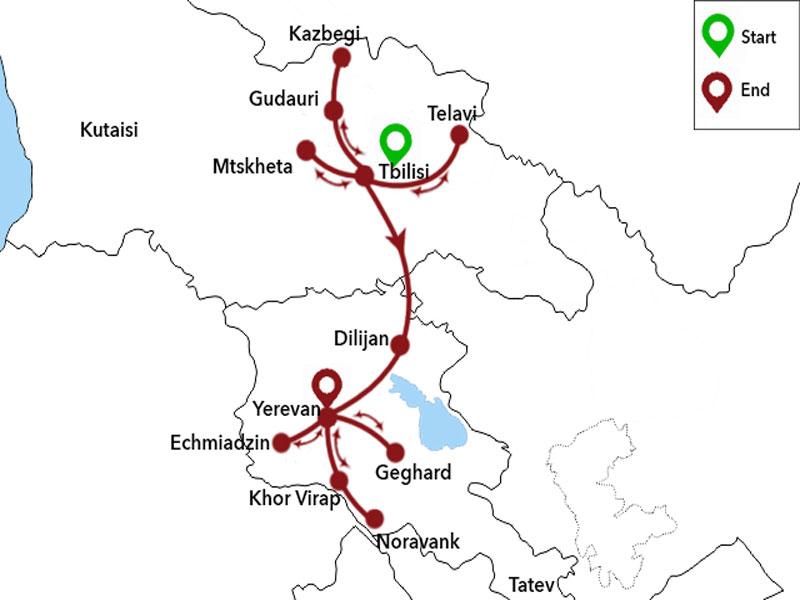map-Voyage classique en Géorgie et en Arménie
