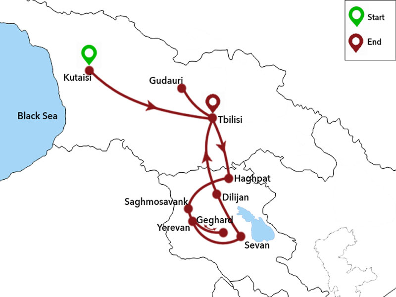 map-Tour to Georgia and Armenia with arrival in Kutaisi