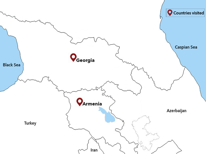 map-Tour to Georgia and Armenia with arrival in Kutaisi