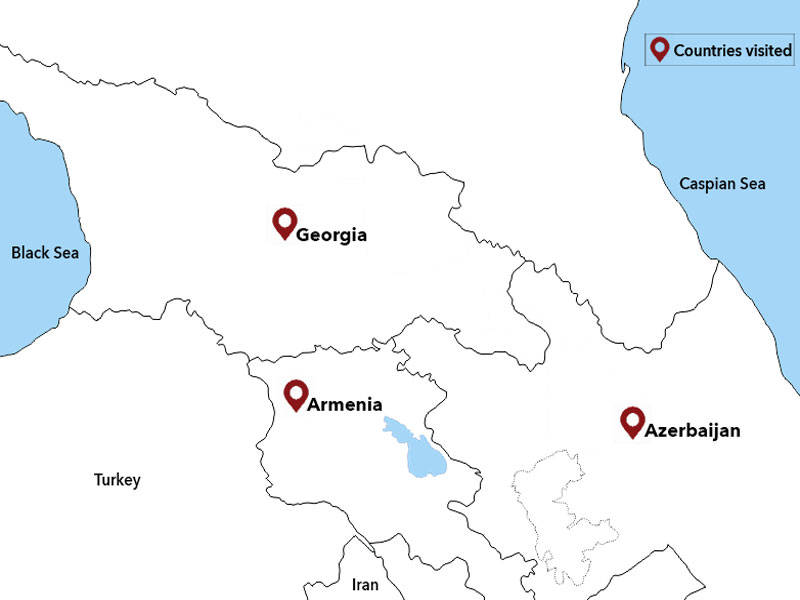 map-Tour to Azerbaijan, Georgia and Armenia in 21 days