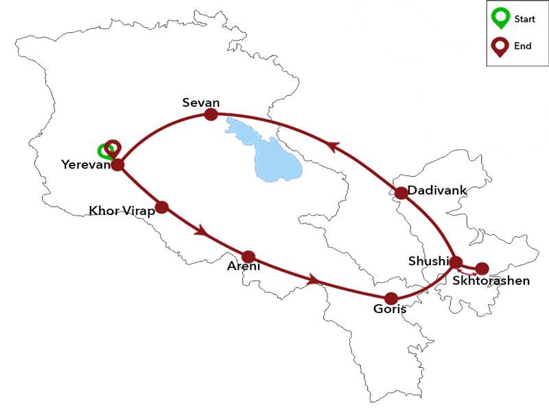 map-Тур в Нагорный Карабах - 7 дней