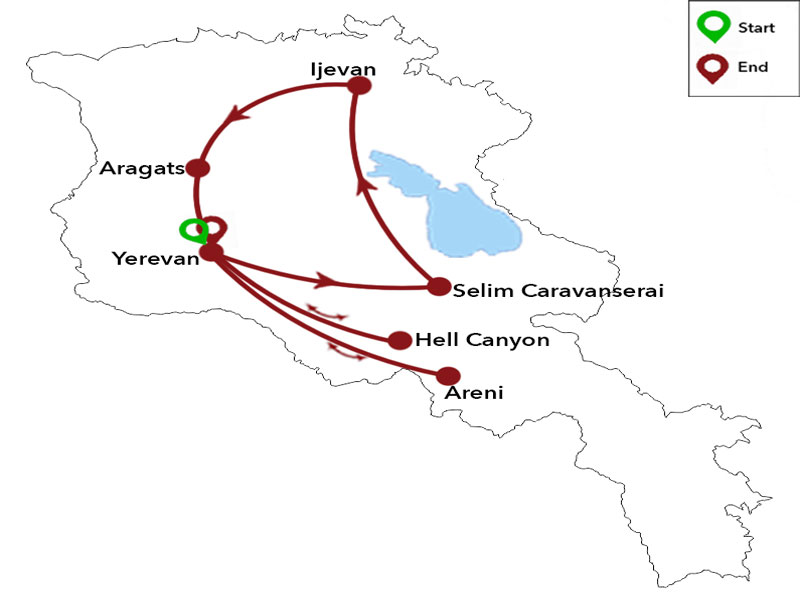 map-Multi-Fitness Sporttour in Armenien