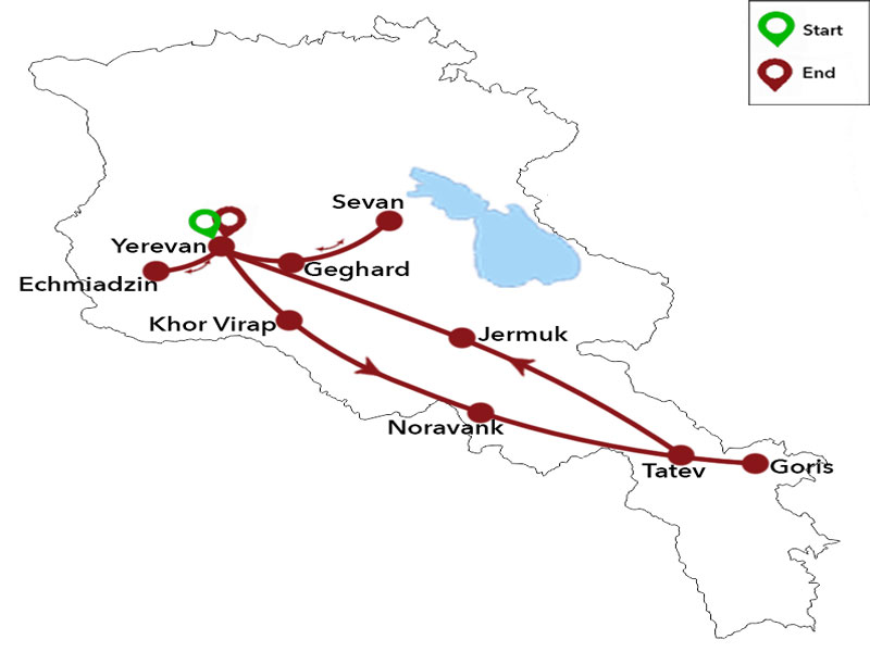 map-Autumn Tour to Armenia - 6 days