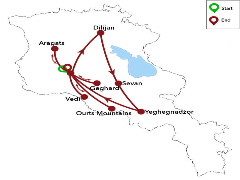 map-Bird Watching Tour in Armenia